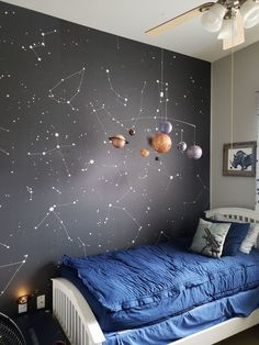 Elisha Anderson added a photo of their purchase Boys Space Bedroom, Map Bedroom, Bedroom Themes, Boy Room, Bedroom Decor, Outer Space Bedroom, Teen Bedroom, Bedroom Designs, Kids Room Wall Art