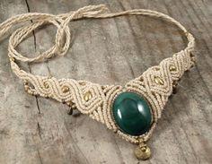 Malachite gemstone necklace macrame necklace brass от BySinuhe
