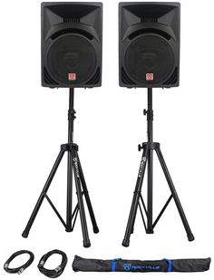 Black Friday Package: Rockville Watt DJ/PA Powered Speakers With a Woofer and a Voice Coil Rockville Pair of Adjustable Pro Speaker Stands XLR Male to Female Cables Carrying Case from Rockville Dj Speakers, Powered Speakers, Sound Speaker, Dive In Movie, Passive Speaker, Passive Design, Dj Gear, Speaker Stands, Speaker System