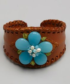 Take a look at this Aqua Flower Jennifer Sherbet Cuff by Elly Preston Jewelry on #zulily today!