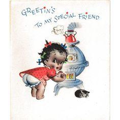 Unused Black Americana Christmas Card / Old Store Stock / Black Americana Collectible / Vintage Card / Humor / - Unused Black Americana Christmas Card / Old Store Stock / Black Americana Collectible / Vintage Card / Humor /