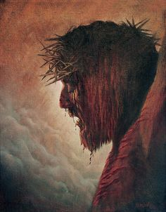 The Passion, Karen Barton. Either the Blood of the Lamb atones for every sin, or it doesn't atone for any sin. Jesus Christ Painting, Jesus Art, Catholic Art, Religious Art, Blood Art, Crucifixion Of Jesus, Pictures Of Jesus Christ, Christ The King, Biblical Art