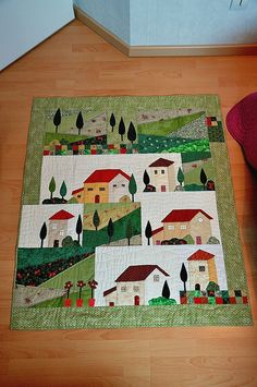 Quilt aux maisons by C.T Fun idea for a quilt. House Quilt Patterns, House Quilt Block, Applique Quilts, Patchwork Quilting, Quilting Projects, Quilting Designs, Landscape Quilts, Fabric Houses, Mini Quilts
