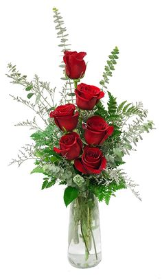 6 roses in a vase with greenery and an accent flower such as misty. Approximately 15 (W) x 16 (H). Valentine's Day Flower Arrangements, Flower Vases, Beautiful Red Roses, Beautiful Flowers, Valentines Flowers, Valentine Nails, Valentine Ideas, Diy Wedding Flowers, Flower Wallpaper