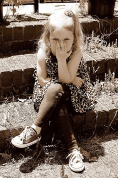 sweet pic of a pretty little girl sitting on brick steps with crossed legs ~ sepia and black and white photography ~ cute child poses ~ birthday picture ideas ~ outdoor photo session ~ shoot pics using natural light / lighting ~ moments ive captured ... - april allen P H O T O G R A P H Y ~ Chesapeake VA ~ Hampton Roads photographer