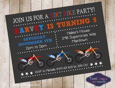 DIRT BIKE Invitation, Printable MOTORBIKE Invitation, Dirt Bike Party Invitations, Motorbike invitations, Dirt Bike Typography Invitations