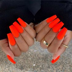 23 Neon Nail Designs That Are Perfect for Summer,Matte Neon Orange Nails,Are your nails looking a little drab and boring? Then add a pop of color to your look with neon! Neon nail colors are bright, stylish and will be amaz. Uñas Color Neon, Neon Nail Colors, Neon Orange Nails, Neon Nails, Cute Acrylic Nails, Nail Polish Colors, Cute Nails, My Nails, Pretty Nails