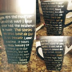 DIY Harry Potter mug. Use oil-based Sharpie pens and bake for 30 minutes at 425 degrees!