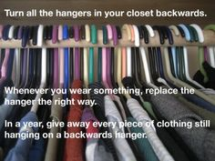 turn hangers backwards.  when you wear it, turn hanger the right way.  after a year get rid of the hangers that are still backwards.