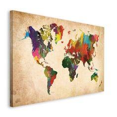 Deko Block Weltkarte in Farben - 118x70 cm
