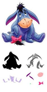 Eeyore svg! LOTS of cute files . . .itemized well. Disney & warner Brothers stuff, and M's