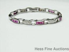 Waslikoff And Sons Heavy Platinum Natural Ruby Diamond 1930s Art Deco Bracelet #WaslikoffSons #Tennis