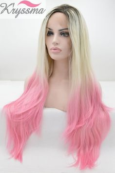 K'ryssma Black Friday Ombre Synthetic Lace Front Wigs Dark Roots Blonde to Pink Half Hand Tied Heat Resistant Fiber Straight Hair 3 Tones