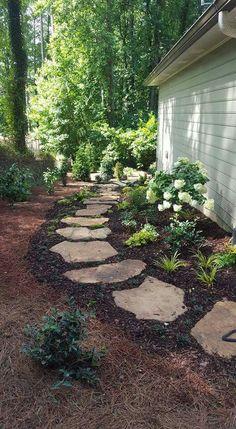 61 Awesome Backyard Landscaping Ideas On A Budget – front yard fence ideas Garden Yard Ideas, Garden Paths, Fence Garden, Front House Garden Ideas, Garden Projects, Backyard Garden Landscape, Sloped Garden, Garden Landscape Design, Garden Table