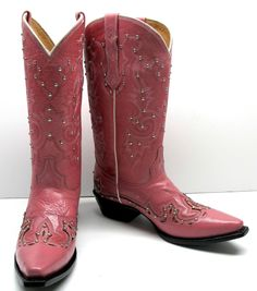 Women's leather fashion studded cowboy western boots cowgirl biker snip toe