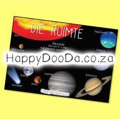 'n Tema muurkaart – Die Ruimte. Hierdie produk is in Afrikaans vir leerders 4-13 jaar. Home Schooling, Afrikaans, Hdd, Homeschool, Words, Afrikaans Language, Homeschooling
