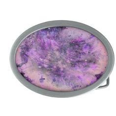 Purple Splatter Oval Belt Buckle