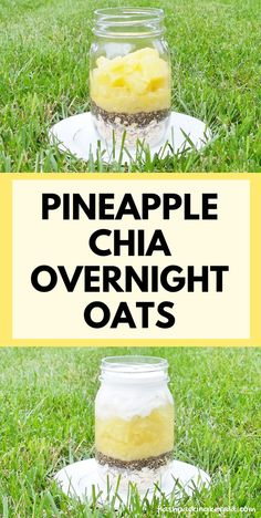 EASY healthy pineapple banana chia overnight oats with coconut milk :: Fruit breakfast ideas Healthy breakfast ideas with pineapple overnight oats. Clean eating oatmeal recipes with pineapple juice and canned pineapple Healthy Pancakes Oatmeal, Clean Eating Oatmeal, Clean Eating Breakfast, Healthy Breakfast Smoothies, Fruit Smoothies, Breakfast Ideas, Vegan Breakfast, Breakfast Recipes, Banana Breakfast