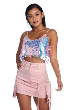 Outfit sequin CLEARANCE- Shimmering Lights Sequin Crop Top Shimmer and shine in this whimsical pink sequin crop top! It has a scoop neckline, a scoop back, spaghetti straps, and all over large iridescent pink sequins. Edm Outfits, Cool Outfits, Fashion Outfits, Concert Outfits, Sequin Crop Top, Pink Sequin, Rave Festival Outfits, Trendy Tops, Online Shopping Clothes