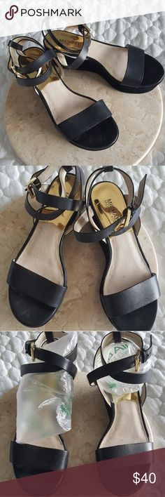 cc1d0653f3e92c Michael Kors black strappy wedge sandals Great addition for summer. This  platform wedge can be