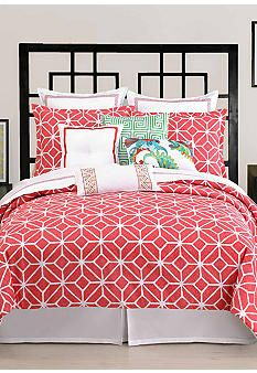 Trina Turk Trellis Coral Bedding Collectionwith navy pillows and accents?