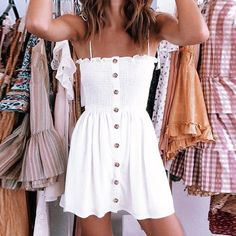Marissa Button Down Boho Dress is part of Vintage fashion Sketches Bob Mackie - Spaghetti StrapDecoration NoneDresses Length Above Knee, MiniSleeve Style Spaghetti StrapWaistline EmpireNeckline Straigh Cute Summer Outfits, Cute Casual Outfits, Fall Outfits, Cute Summer Clothes, Summer Ootd, Summer Clothing, Pretty Clothes, Summer Outfits For Teen Girls Hipster, Tumblr Summer Outfits