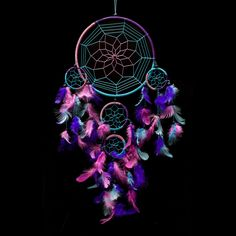 "Dream Catcher ~ Handmade Traditional Aqua Blue, Pink & Purple 8.5"" Diameter & 24"" Long!"