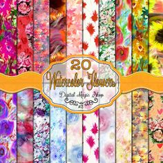 Digital Paper Pack 20 Watercolor Flowers Textures Digital by DigitalMagicShop on Etsy, $3.00