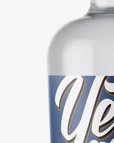 Clear Glass Bottle With Vodka Mockup Close-Up