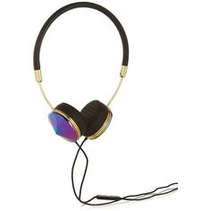Frends Layla leather and iridescent metal headphones ($150) ❤ liked on Polyvore featuring accessories, tech accessories, headphones, electronics, misc, outros, technology, black, metal headphones and cell phone headphones