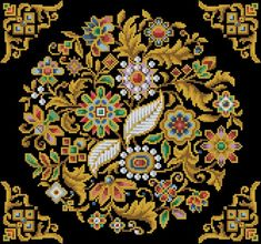 Cross Stitch Antique Tapestry Floral Round Décor by MagicOfNeedle