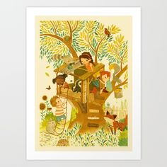 Our House In the Woods Art Print by Teagan White