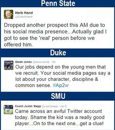 College coaches are dropping recruits due to social media posts. What does your social media presence say about you ? High School Hacks, College Hacks, School Tips, Think Before You Post, College Recruiting, Student Portfolios, Daily Wisdom, Social Media Pages, Humility