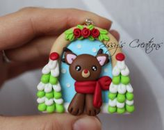 Handcrafted Polymer Clay Winter Reindeer by MyJoyfulMoments
