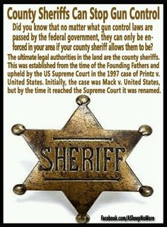 Did you know that no matter what gun control laws are passed by the federal government, they can only be enforced in your area if your county sheriff allows them to be? Read more: godfatherpolitics. Good To Know, Did You Know, Pro Gun, By Any Means Necessary, Gun Rights, Thing 1, Gun Control, 2nd Amendment, Way Of Life