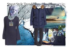 """""""Bell Sleeve Navy Dress"""" by deluxephotos ❤ liked on Polyvore featuring Hue, Chloé, NARS Cosmetics, love, FiRE, Steven by Steve Madden, Kensie, Liljebergs, Giorgio Armani, bellsleeve and bellsleevedress"""