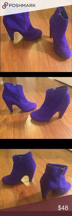 Blue suede booties with zipper Lightly used but still in perfect condition very comfortable looks great with leggings Shoes Ankle Boots & Booties