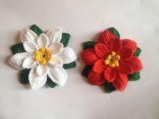 2 Handmade Crochet Christmas Flowers Appliques