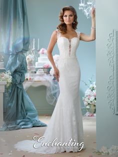 Sleeveless lace, chiffon, and Venise lace slim trumpet gown, deep plunging sweetheart neckline with illusion modesty panel, illusion back with lace and covered buttons, chapel length train. Sizes:0 – 20 Colors:Ivory, White