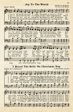 vintage weihnachten Here is avintage sheet music graphic that includes two Christmas hymns: Joy To The World and I Heard The Bells On Christmas Day. The page isfrom the vintage songbook The Golden Book of Favorite S Vintage Sheet Music, Vintage Sheets, Old Sheet Music, Joy To The World, Christmas Printables, Christmas Crafts, Diy Mod Podge, Christmas Sheet Music, Illustration Noel