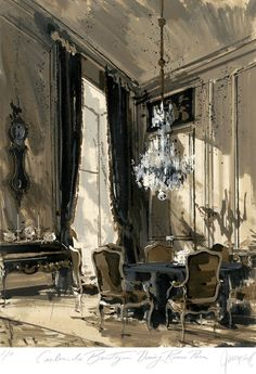 Interior - Jeremiah Goodman - Rendering of Carlos de Beistegui Paris Dining Room