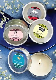 Personalized Round Travel Candles from Wedding Favors Unlimited