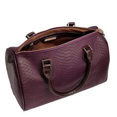 Burgundy Barrel Bag Embossed Python