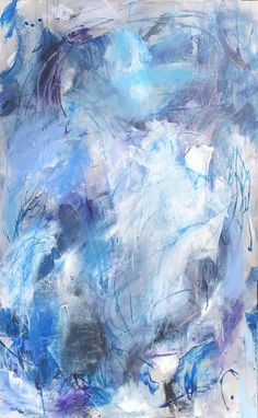 """Blue Velvet is a 30""""w x 48""""h painting in acrylic paint and marker on canvas."""