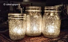 """Glittered Mason Jar candles -- the glitter is on the inside, so no glitter """"droppings"""" throughout your house. :o)"""