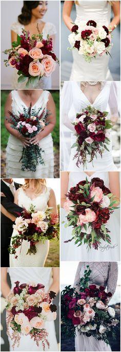 #WeddingBouquet » 16 Elegant Burgundy and Blush Wedding Bouquet Ideas