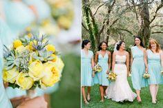 Aqua blue bridesmaid dresses   Photos by Birds of a Feather   100 Layer Cake