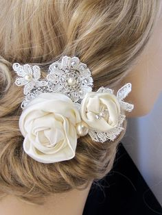 Ivory Fabric Flower with pearls, rhinestones and lace