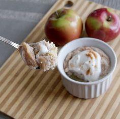 5 Minute Microwave Apple Cinnamon Mug Cake == Primal Palate (1/2 apple, chopped, 1/4 C egg whites, 1 T coconut flour, 1 T maple syrup, 1/2 tsp. cinnamon, 1/4 tsp. pumpkin pie spice, 1/2 tsp. baking powder, 1/8 C coconut cream)