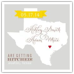Texas Wedding Save the Date cards! The silhouette is a cute touch.